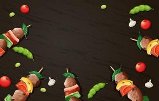 Läckra Kebab Grill Trä Mall vektor