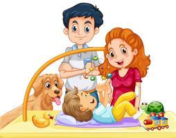 Familj med småbarn och hund vektor