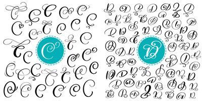 Sats med handdragen vektor kalligrafi bokstäver C och D. Skript typsnitt. Isolerade bokstäver skrivna med bläck. Handskriven penselstil. Handbokstäver för logotypemballage