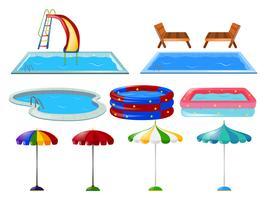 Simbassänger och paraplyer vektor
