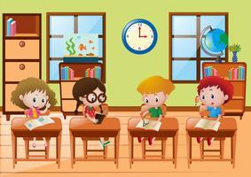 Vier Schüler lernen in der Schule vektor