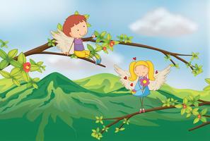 Engel am Ast eines Baumes