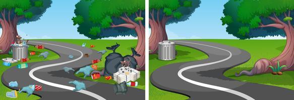 Ein Vergleich von sauberer und schmutziger Straße vektor