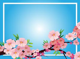 Gränsmall med rosa blommablommor vektor