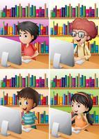 Pojkar och tjej som arbetar på dator vektor