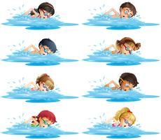 Många barn simmar i poolen vektor