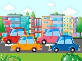 Szene mit vielen Autos unterwegs vektor