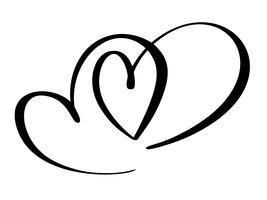 Två älskling hjärta. Handgjord vektor kalligrafi. Inredning för gratulationskort, mugg, fotoöverdrag, t-shirt, flygblad, affischdesign