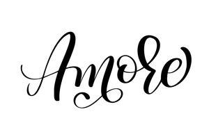 Italiano Amore Handritad Valentinsdag typografi bokstäver på den vita bakgrunden. Rolig penselbläck kalligrafi inskription för vinterhälsningsinbjudningskort eller tryckdesign