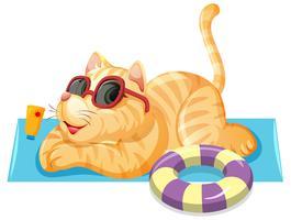 En katt på sommar tema vektor