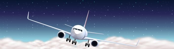 Szene mit dem Flugzeug nachts fliegen vektor