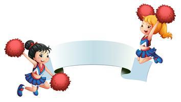 Zwei Cheerleader mit einer Beschilderung vektor