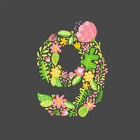 Blom sommar Nummer 9 nio. Flower Capital Wedding Alphabet. Färgrik teckensnitt med blommor och löv. Vektor illustration skandinavisk stil