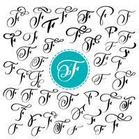 Sats med handritad vektor kalligrafi brev F. Skript typsnitt. Isolerade bokstäver skrivna med bläck. Handskriven penselstil. Handbokstäver för logotypemballage. Typografisk uppsättning på vit bakgrund