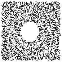 Texte Frohe Weihnachten Hand in einem Kreis Kalligraphie Schriftzug geschrieben. handgemachte vektorabbildung. Fun-Brush-Ink-Typografie für Foto-Overlays, T-Shirt-Druck, Flyer, Plakatgestaltung