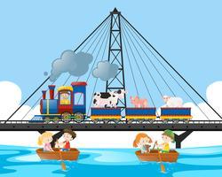 Tågresa på bron