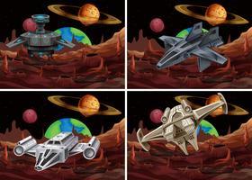 Fyra scener av rymdskepp som flyger i rymden