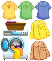 Tvättmaskin och rengjorda kläder