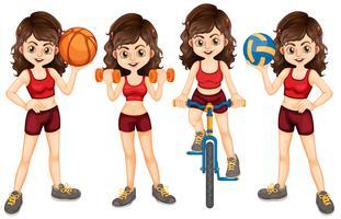 Kvinna idrottare gör olika sporter