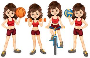 Sportlerin, die verschiedenen Sport tut vektor
