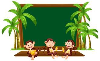 Affe drei auf Tafelschablone vektor