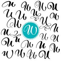 Ange brev U. Handdragen vektor blomstra kalligrafi. Skript typsnitt. Isolerade bokstäver skrivna med bläck. Handskriven penselstil. Handbokstäver för logotypemballage