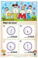 Math kalkylblad design för att berätta tid