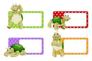 Etikettdesign med söta sköldpaddor