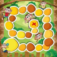 Brettspielvorlage mit Affen im Wald vektor