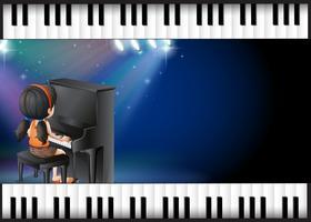 Hintergrunddesign mit dem Mädchen, das Klavier spielt vektor