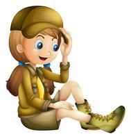 Liten tjej i safari outfit vektor