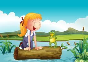 En tjej med en groda i floden vektor