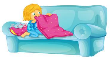 Mädchen auf dem Sofa vektor