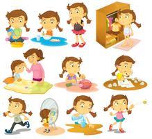 Olika aktiviteter hos en ung tjej