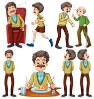 Alter Mann, verschiedene Aktivitäten vektor
