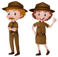 Zwei Parkwächter in brauner Uniform vektor
