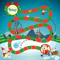 Spielvorlage mit Weihnachtsmann und Rentieren vektor