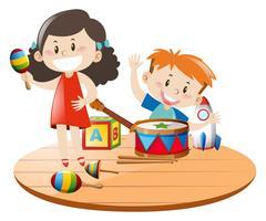 Barn leker med leksaker vektor