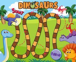 Dinosaur brädspel mall vektor