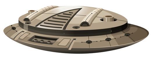 Einzelnes rundes Raumschiff auf Weiß vektor
