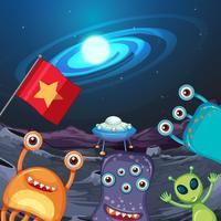 Fyra utomjordingar på planeten vektor