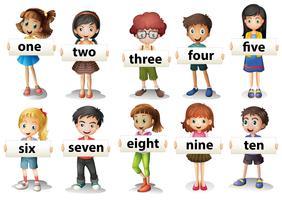 Barn som håller ordkort med siffror vektor