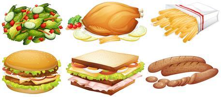 Många typer av mat vektor