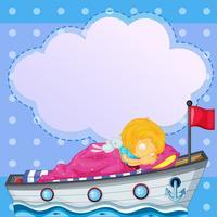 En tjej som sover ovanför båten med en tom callout