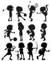 Schattenbildkinder, die Sport spielen