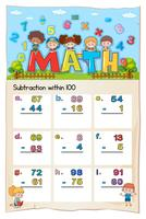 Mathe-Arbeitsblatt für die Subtraktion innerhalb von hundert vektor