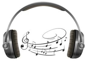 En hörlurar på vit bakgrund vektor
