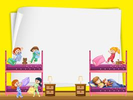 Pappersdesign med barn i sovrummet vektor