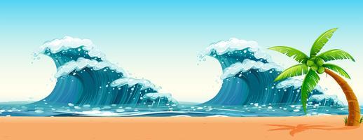 Scen med stora vågor i havet vektor