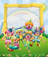 Border design med många clowner vektor